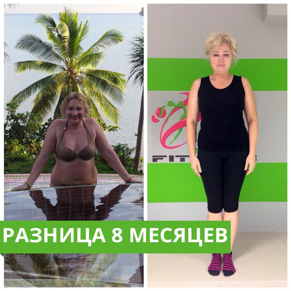 Ирина. Фитнес тренировки разница 8 месяцев
